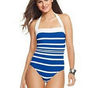 Blue & White Striped Halterneck Swimsuit